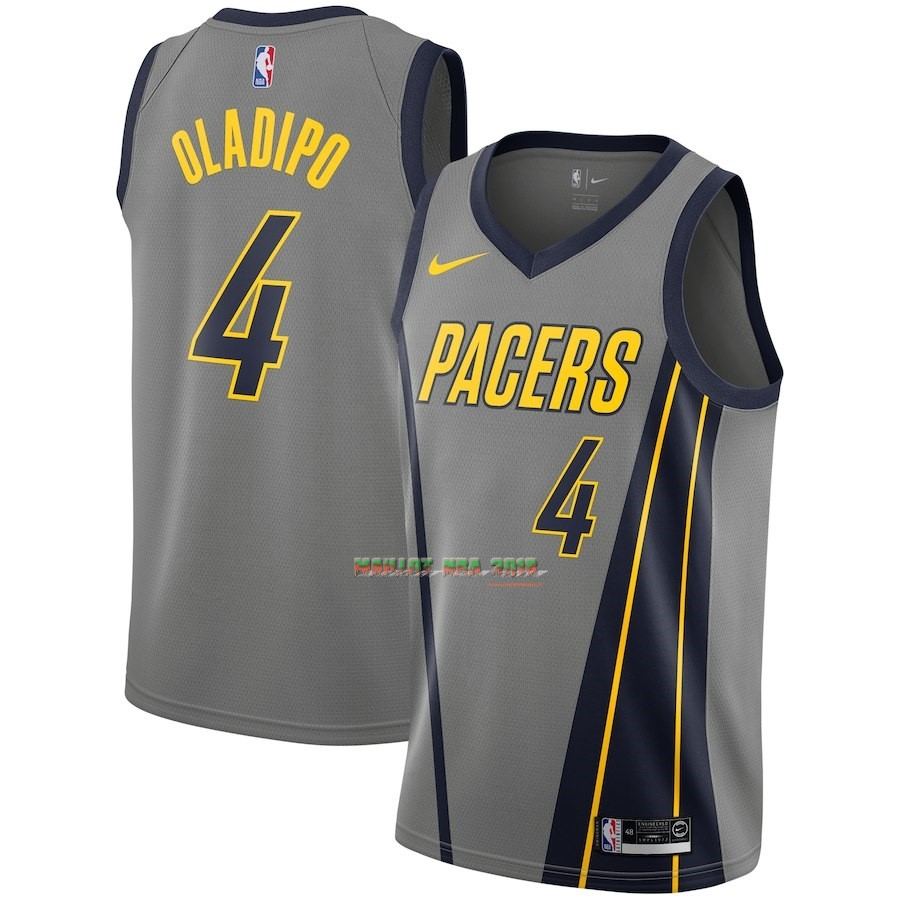 Maillot NBA Enfant Indiana Pacers NO.4 Victor Oladipo Nike Gris Ville 2018-19