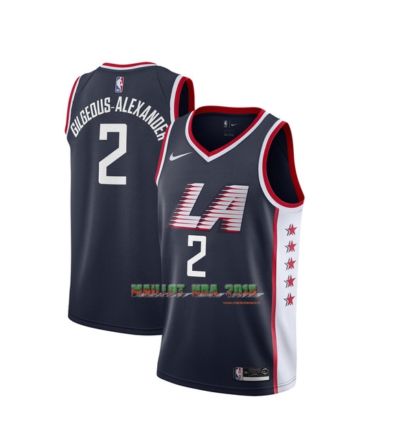 Maillot NBA Enfant Los Angeles Clippers NO.2 Shai Gilgeous Alexander Nike Marine Ville 2018-19
