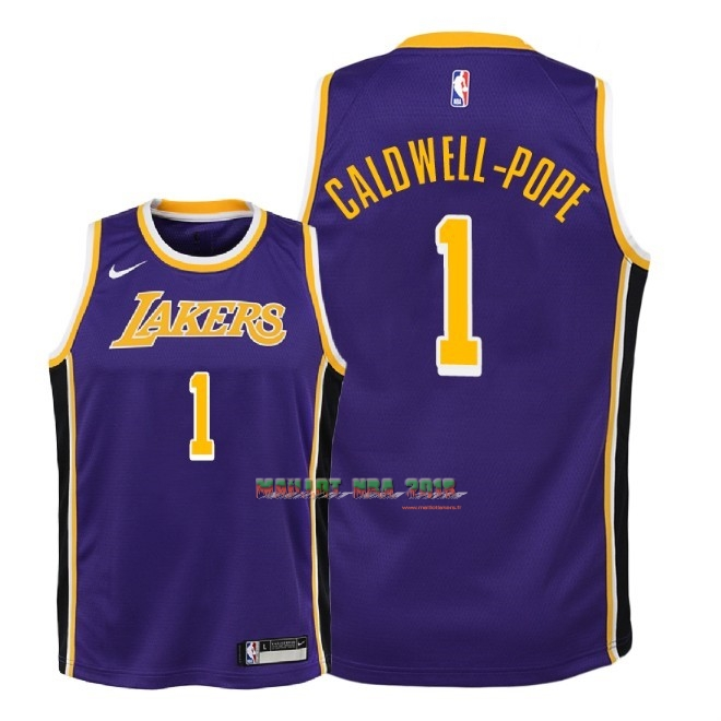 Maillot NBA Enfant Los Angeles Lakers NO.1 Kentavious Caldwell Pope Pourpre Statement 2018-19
