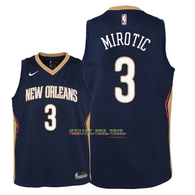 Maillot NBA Enfant New Orleans Pelicans NO.3 Nikola Mirotic Marine Icon 2018