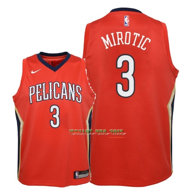 Maillot NBA Enfant New Orleans Pelicans NO.3 Nikola Mirotic Rouge Statement 2018
