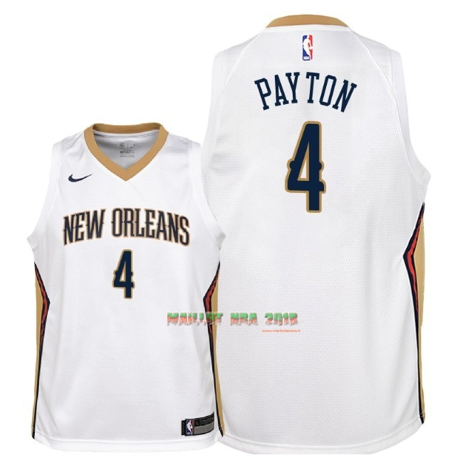 Maillot NBA Enfant New Orleans Pelicans NO.4 Elfrid Payton Blanc Association 2018