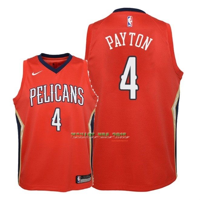 Maillot NBA Enfant New Orleans Pelicans NO.4 Elfrid Payton Rouge Statement 2018
