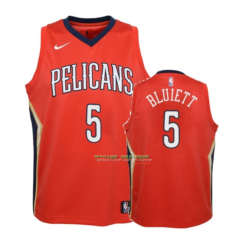 Maillot NBA Enfant New Orleans Pelicans NO.5 Trevon Bluiett Rouge Statement 2018