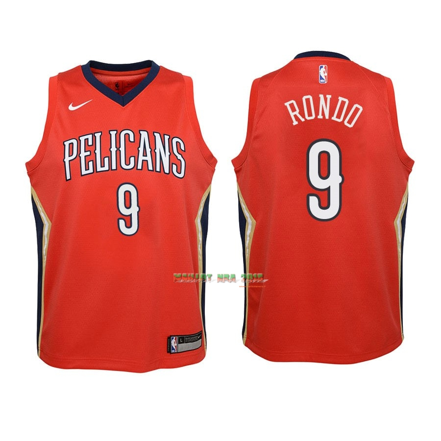 Maillot NBA Enfant New Orleans Pelicans NO.9 Rajon Rondo Rouge Statement 2018