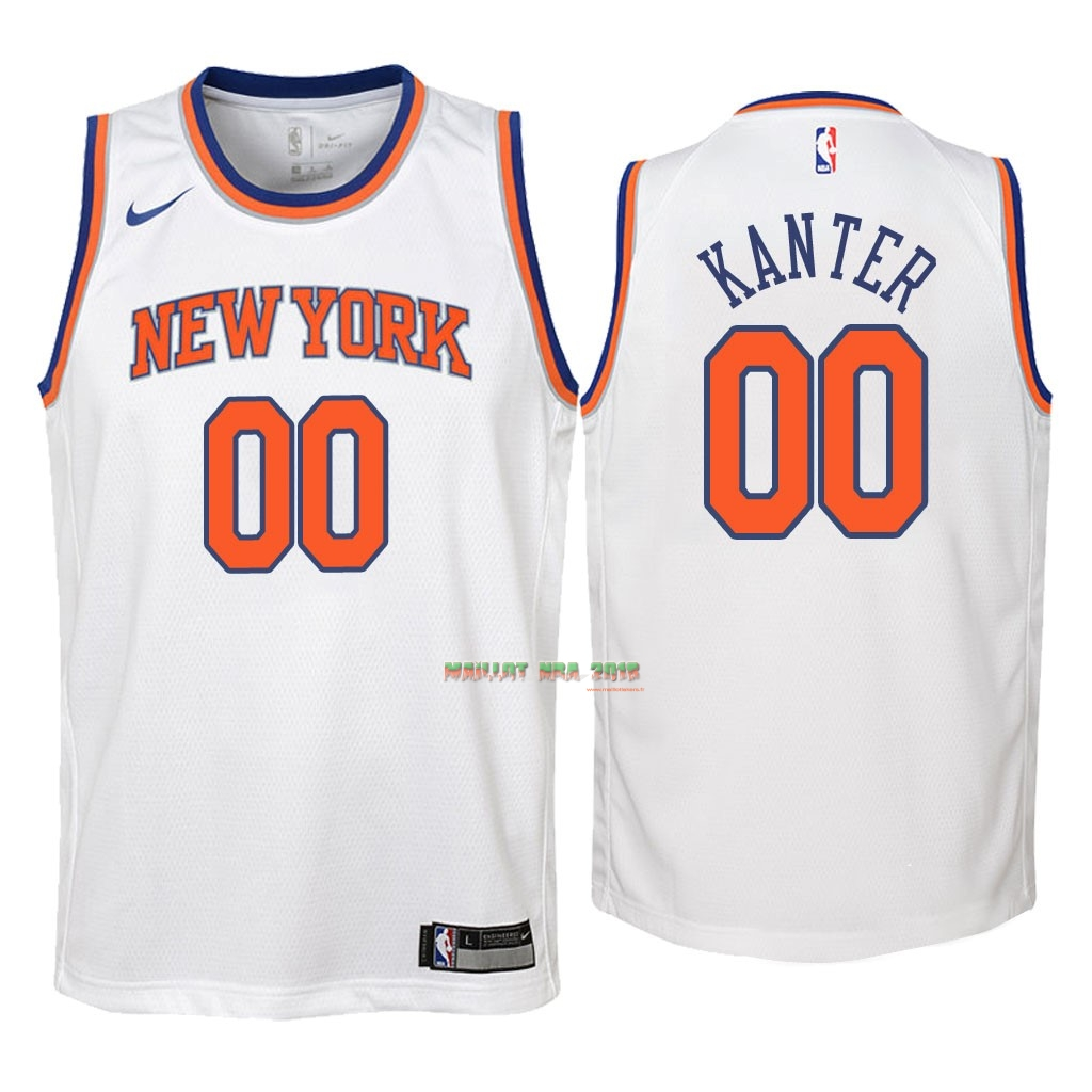 Maillot NBA Enfant New York Knicks NO.0 Enes Kanter Blanc Association 2018