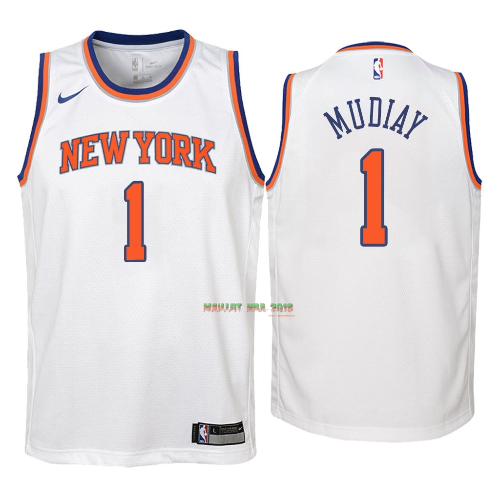 Maillot NBA Enfant New York Knicks NO.1 Emmanuel Mudiay Blanc Association 2018