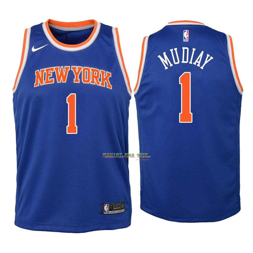 Maillot NBA Enfant New York Knicks NO.1 Emmanuel Mudiay Bleu Icon 2018