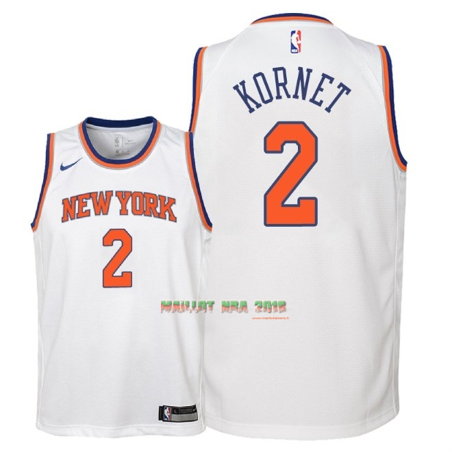 Maillot NBA Enfant New York Knicks NO.2 Luke Kornet Blanc Association 2018