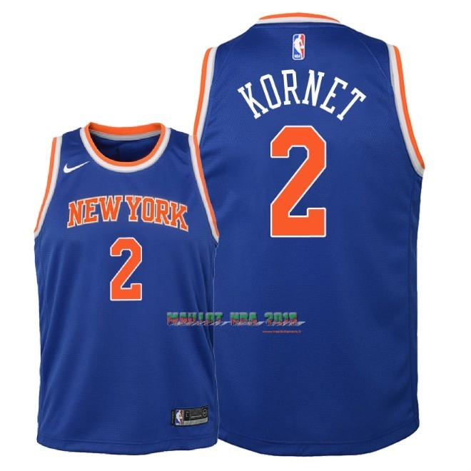 Maillot NBA Enfant New York Knicks NO.2 Luke Kornet Bleu Icon 2018