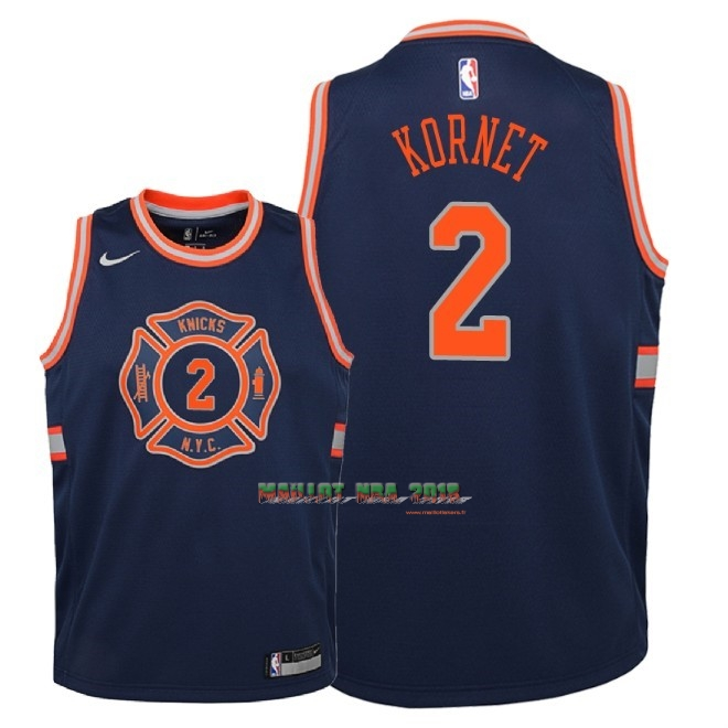 Maillot NBA Enfant New York Knicks NO.2 Luke Kornet Nike Marine Ville 2018