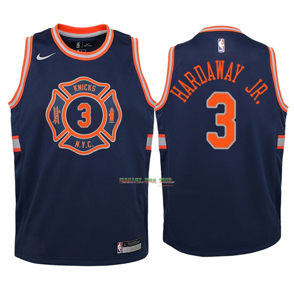 Maillot NBA Enfant New York Knicks NO.3 Tim Hardaway Jr Nike Marine Ville 2018