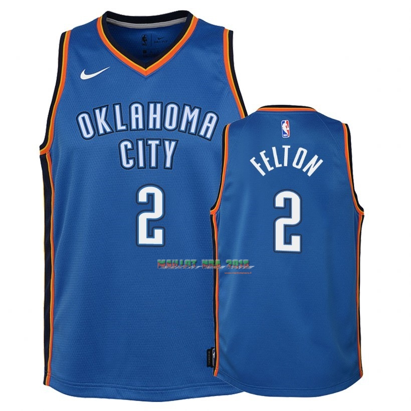 Maillot NBA Enfant Oklahoma City Thunder NO.2 Raymond Felton Bleu Icon 2018
