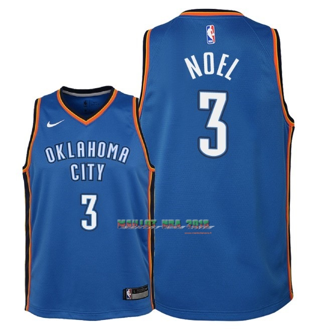 Maillot NBA Enfant Oklahoma City Thunder NO.3 Nerlens Noel Bleu Icon 2018
