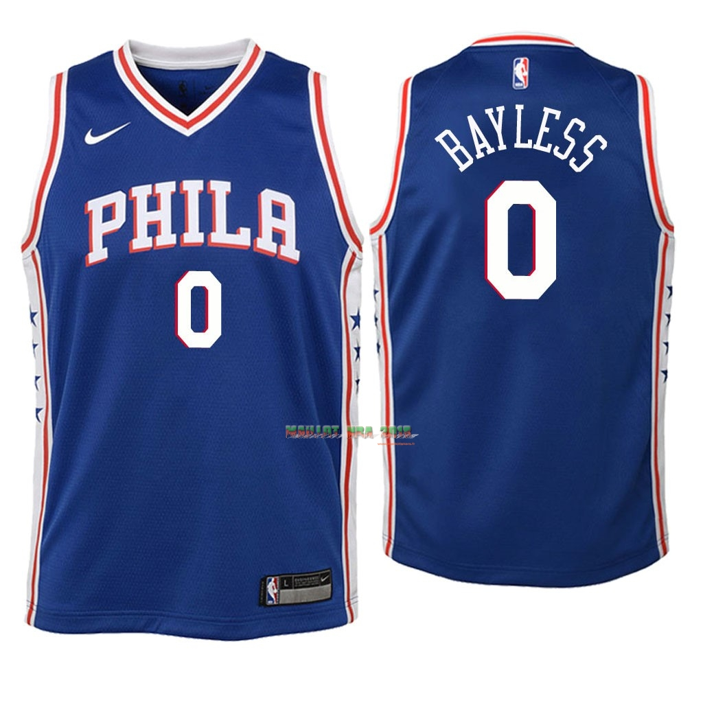 Maillot NBA Enfant Philadelphia Sixers NO.0 Jerryd Bayless Bleu Icon 2018