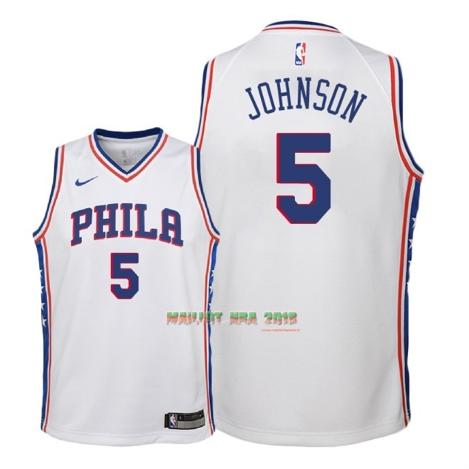 Maillot NBA Enfant Philadelphia Sixers NO.5 Amir Johnson Blanc Association 2018