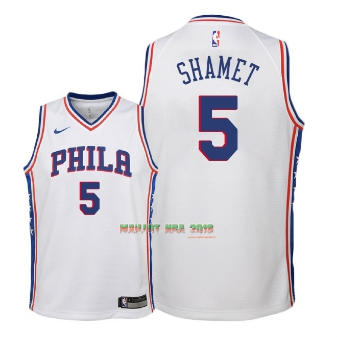 Maillot NBA Enfant Philadelphia Sixers NO.5 Landry Shamet Blanc Association 2018