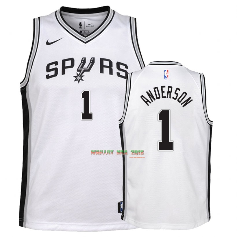 Maillot NBA Enfant San Antonio Spurs NO.1 Kyle Anderson Blanc Association 2018