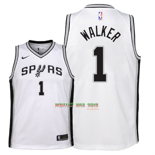 Maillot NBA Enfant San Antonio Spurs NO.1 Lonnie Walker Blanc Association 2018