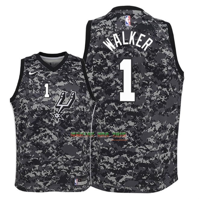 Maillot NBA Enfant San Antonio Spurs NO.1 Lonnie Walker Nike Camuflaje Ville 2018