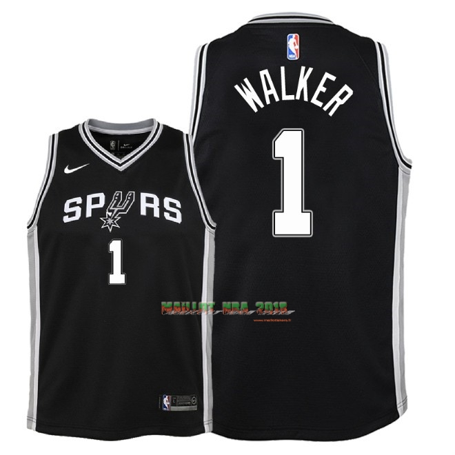 Maillot NBA Enfant San Antonio Spurs NO.1 Lonnie Walker Noir Icon 2018