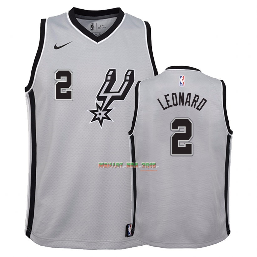 Maillot NBA Enfant San Antonio Spurs NO.2 Kawhi Leonard Gris Statement 2018
