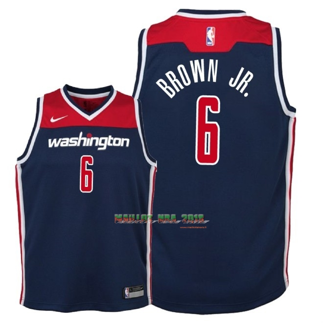 Maillot NBA Enfant Washington Wizards NO.6 Troy Brown Jr Marine Statement 2018