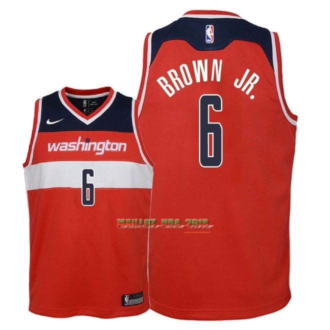 Maillot NBA Enfant Washington Wizards NO.6 Troy Brown Jr Rouge Icon 2018