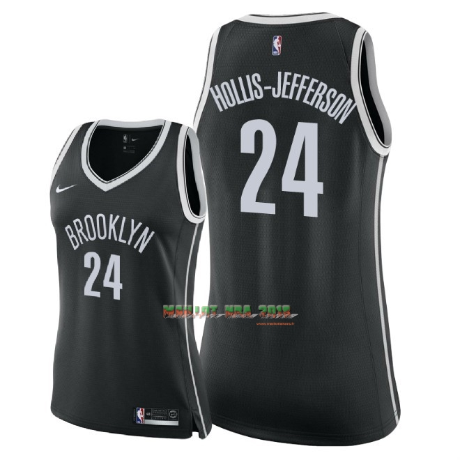 Maillot NBA Femme Brooklyn Nets NO.24 Rondae Hollis Jefferson Noir Icon 2018