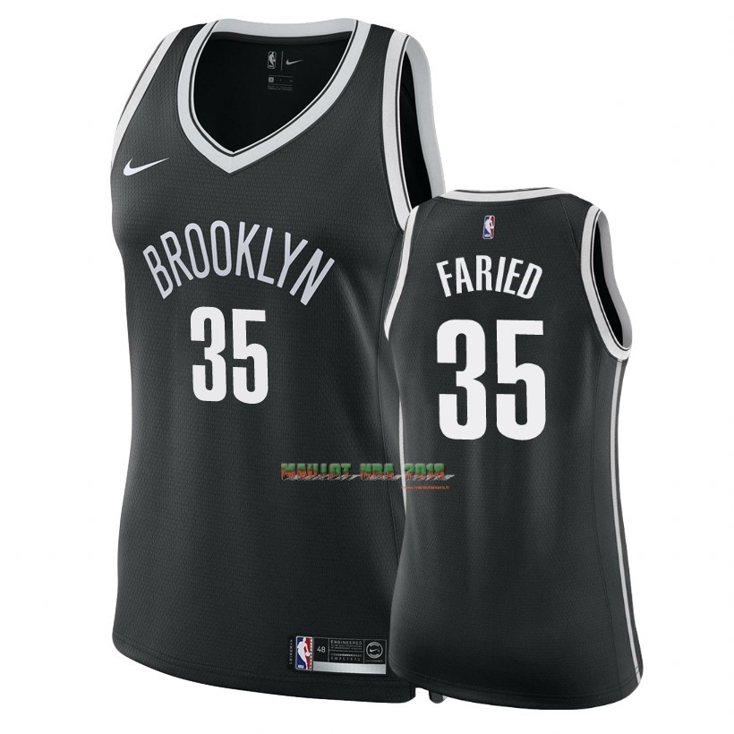 Maillot NBA Femme Brooklyn Nets NO.35 Kenneth Faried Noir Icon 2018