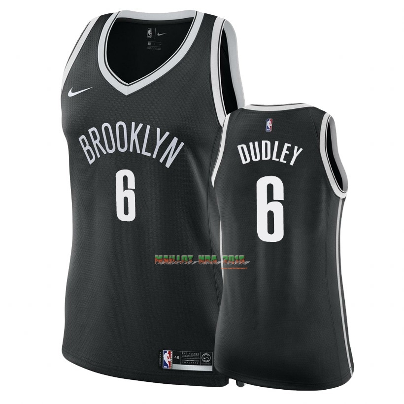 Maillot NBA Femme Brooklyn Nets NO.6 Jared Dudley Noir Icon 2018