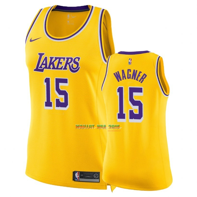Maillot NBA Femme Los Angeles Lakers NO.15 Moritz Wagner Jaune Icon 2018-19