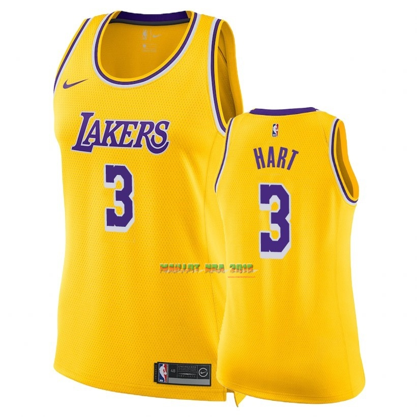 Maillot NBA Femme Los Angeles Lakers NO.3 Josh Hart Jaune Icon 2018-19