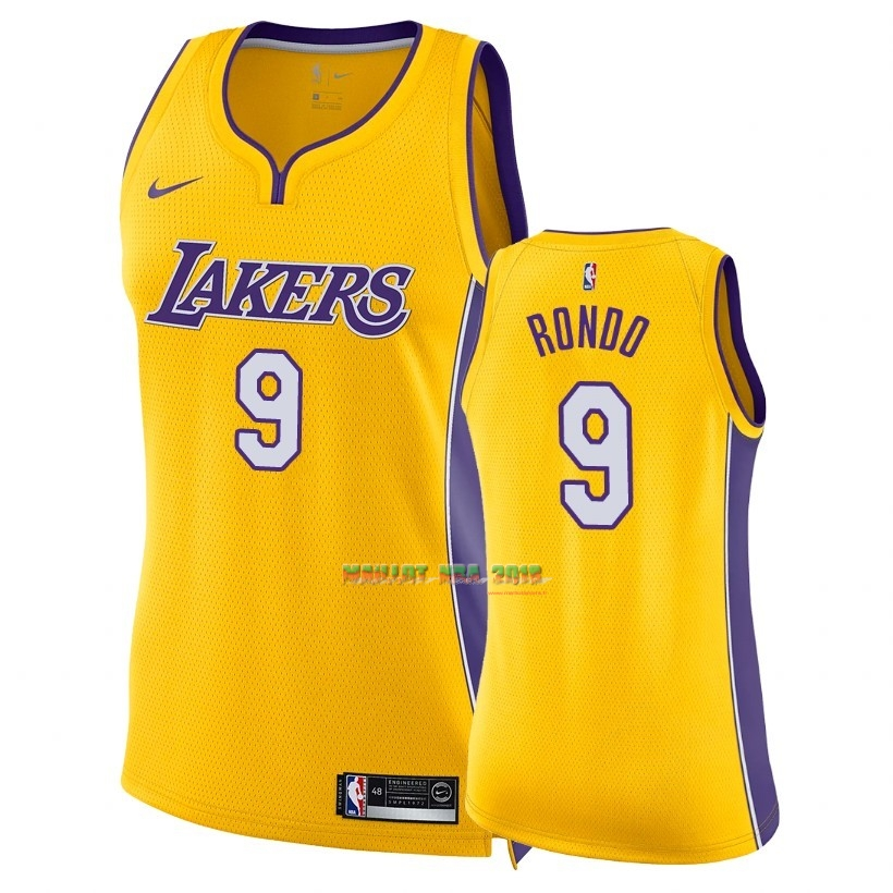 Maillot NBA Femme Los Angeles Lakers NO.9 Rajon Rondo Jaune Icon 2018