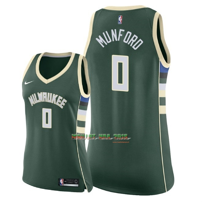 Maillot NBA Femme Milwaukee Bucks NO.0 Xavier Munford Vert Icon 2018
