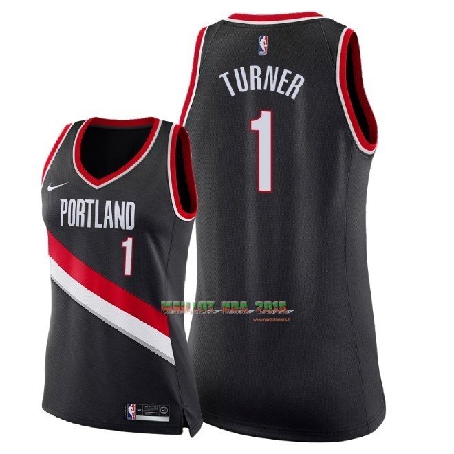 Maillot NBA Femme Portland Trail Blazers NO.1 Evan Turner Noir Icon 2018