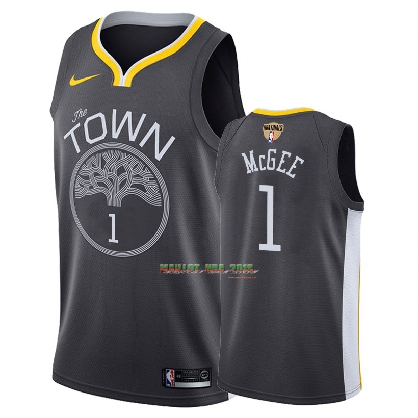 Maillot NBA Golden State Warriors 2018 Final Champions NO.1 JaVale McGee Noir Statement Patch