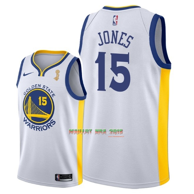 Maillot NBA Golden State Warriors 2018 Final Champions NO.15 Damian Jones Blanc