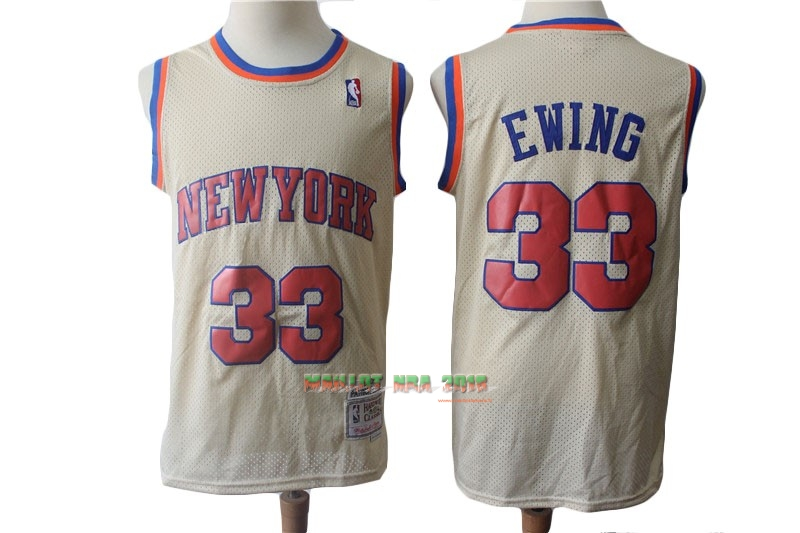 Maillot NBA New York Knicks NO.33 Patrick Ewing Retro Crème 1991-92