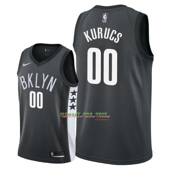 Maillot NBA Nike Brooklyn Nets NO.0 Rodions Kurucs Noir Statement 2018