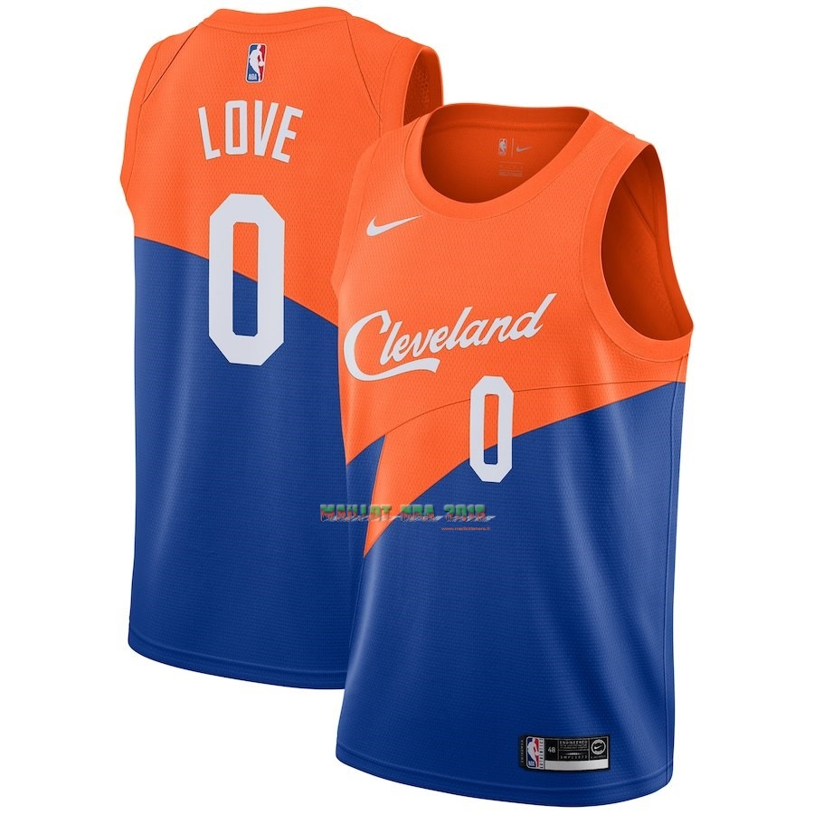 Maillot NBA Nike Cleveland Cavaliers NO.0 Kevin Love Nike Bleu Ville 2018-19