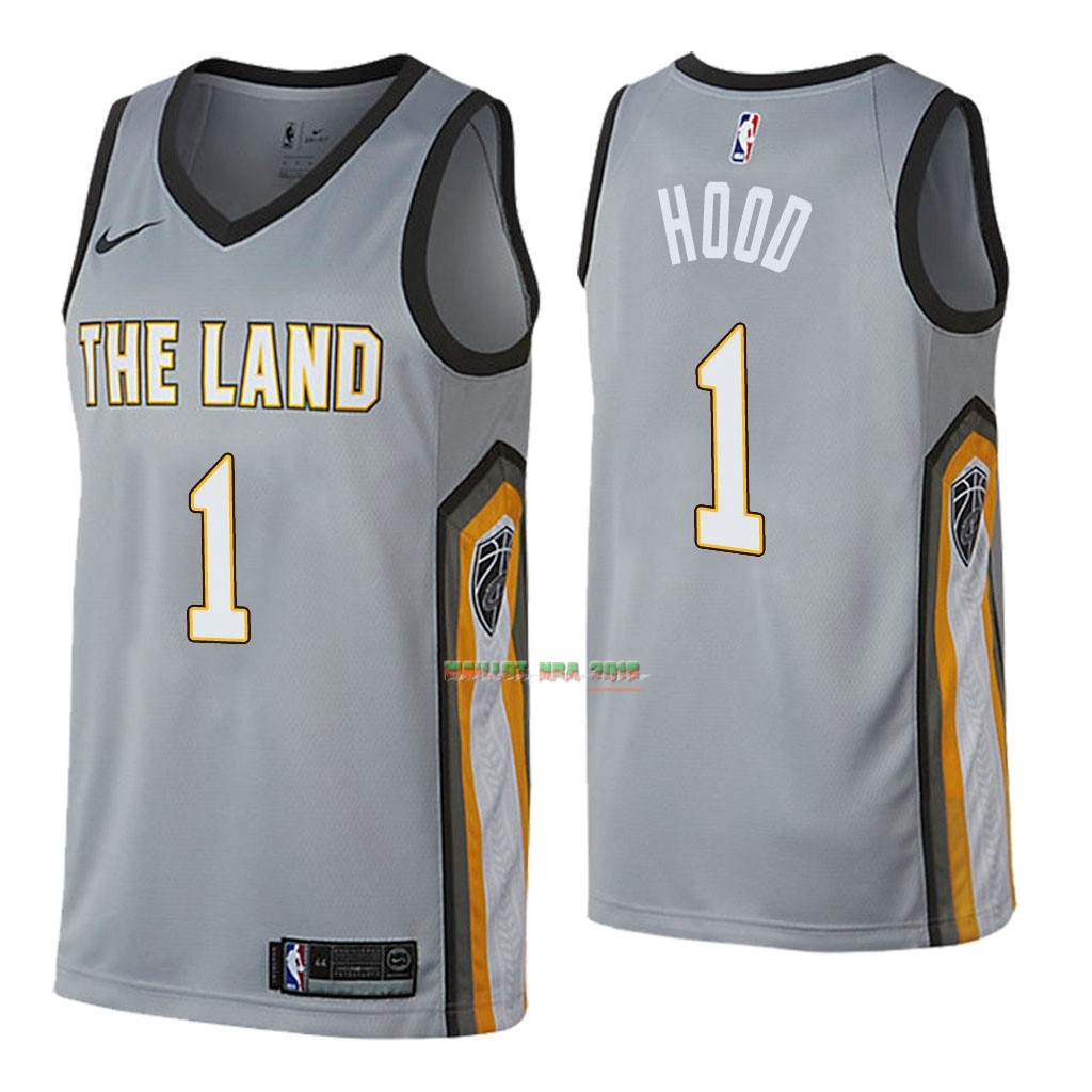 Maillot NBA Nike Cleveland Cavaliers NO.1 Rodney Hood Nike Gris Ville 2018