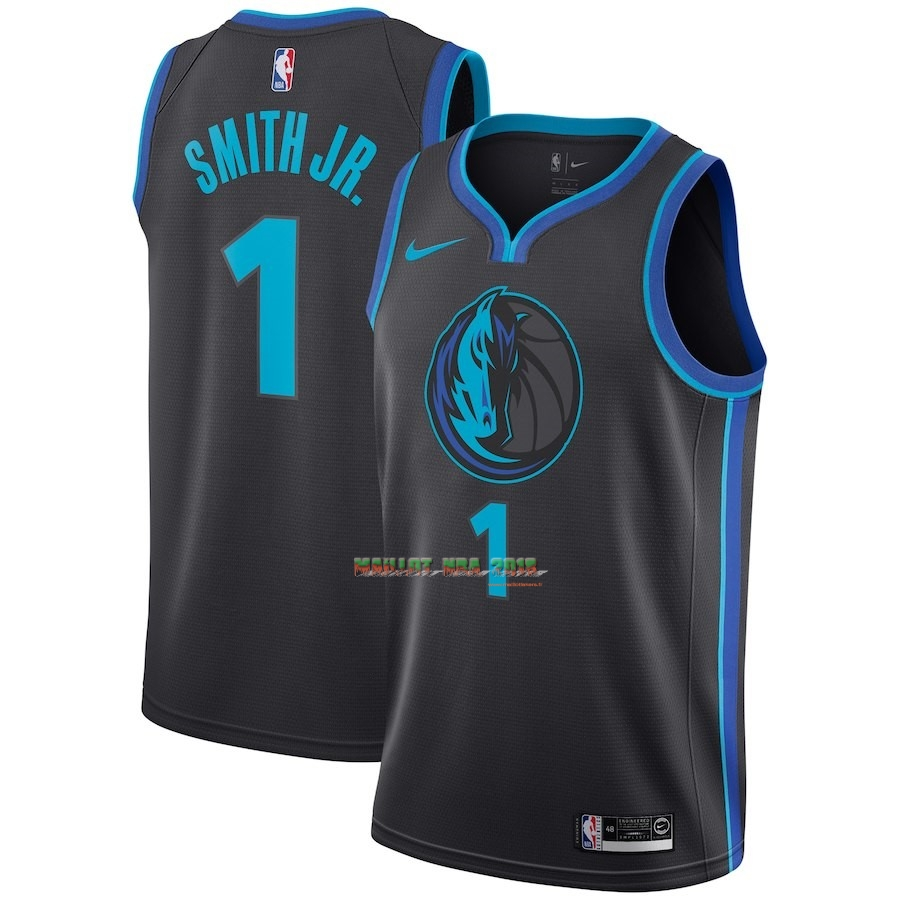 Maillot NBA Nike Dallas Mavericks NO.1 Dennis Smith Jr Nike Anthracite Ville 2018-19