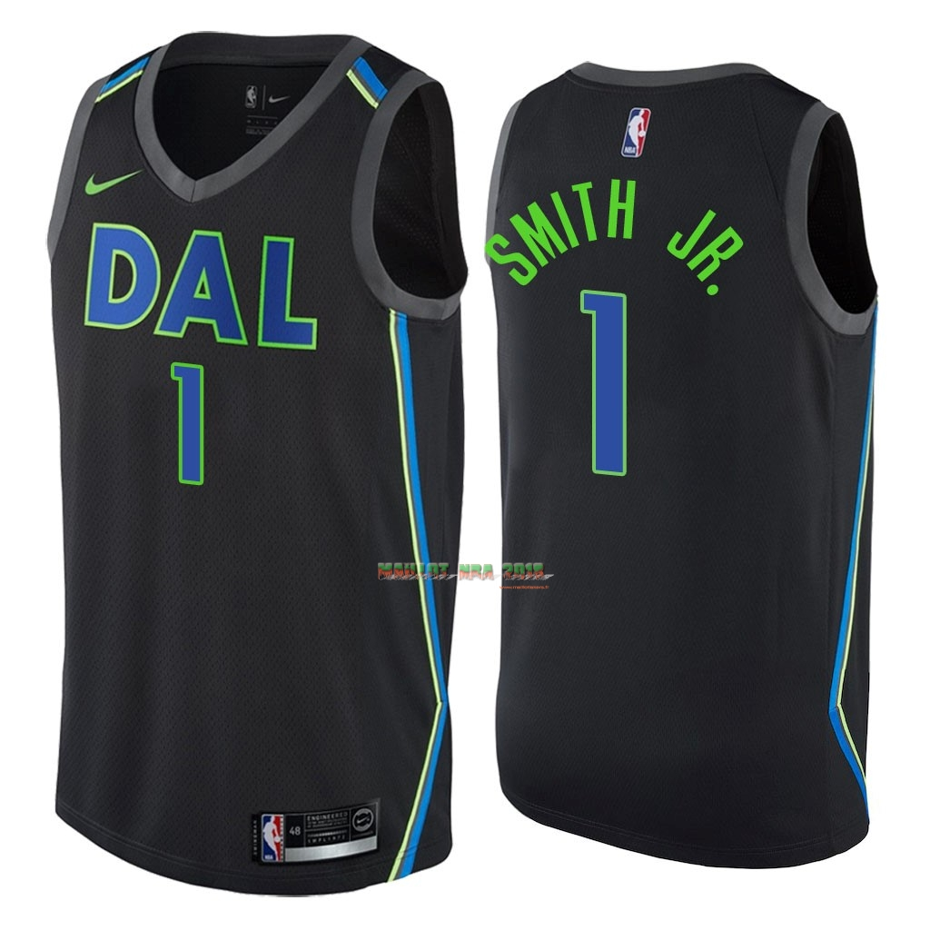 Maillot NBA Nike Dallas Mavericks NO.1 Dennis Smith Jr Nike Noir Ville 2018