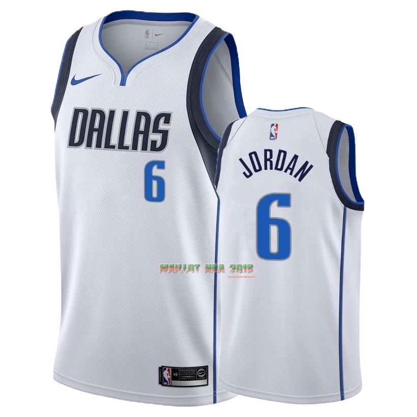 Maillot NBA Nike Dallas Mavericks NO.6 DeAndre Jordan Blanc Association 2018