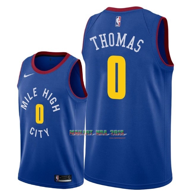 Maillot NBA Nike Denver Nuggets NO.0 Isaiah Thomas Bleu Statement 2018-19