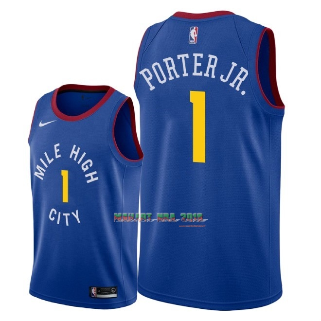 Maillot NBA Nike Denver Nuggets NO.1 Michael Porter Jr Bleu Statement 2018-19