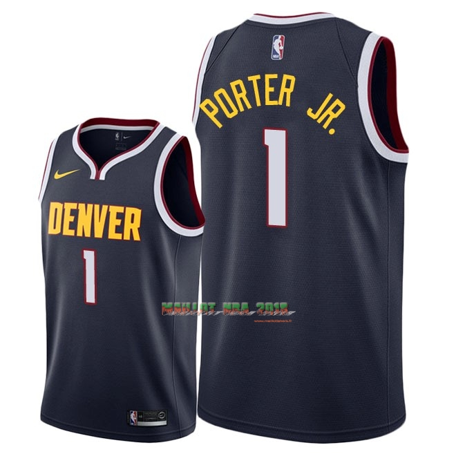 Maillot NBA Nike Denver Nuggets NO.1 Michael Porter Jr Marine Icon 2018-19