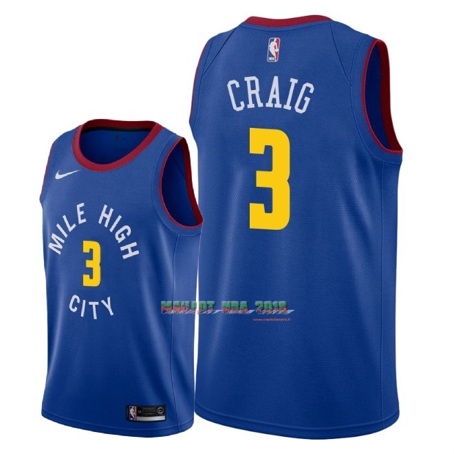 Maillot NBA Nike Denver Nuggets NO.3 Torrey Craig Bleu Statement 2018-19