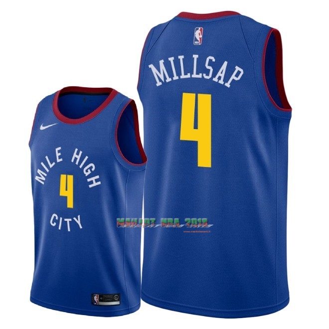 Maillot NBA Nike Denver Nuggets NO.4 Paul Millsap Bleu Statement 2018-19